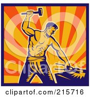 Royalty Free RF Clipart Illustration Of A Retro Blacksmith Man Hammering by patrimonio