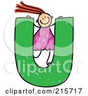 Royalty Free RF Clipart Illustration Of A Childs Sketch Of A Girl On Top Of A Capital Letter U