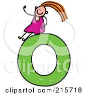 Royalty Free RF Clipart Illustration Of A Childs Sketch Of A Girl On Top Of A Capital Letter O