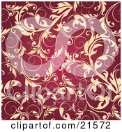 Clipart Illustration Of Elegant Beige Leafy Vines Scrolling Over A Dark Red Background by OnFocusMedia
