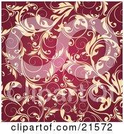 Clipart Illustration Of Elegant Beige Leafy Vines Scrolling Over A Dark Red Background