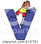 Royalty Free RF Clipart Illustration Of A Childs Sketch Of A Boy On Top Of A Capital Letter V