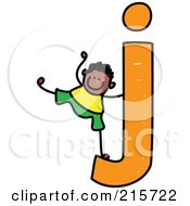 Royalty Free RF Clipart Illustration Of A Childs Sketch Of A Boy On A Lowercase Letter J