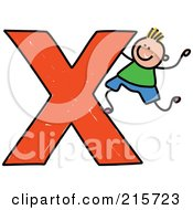 Royalty Free RF Clipart Illustration Of A Childs Sketch Of A Boy Climbing On A Capital Letter X