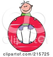 Royalty Free RF Clipart Illustration Of A Childs Sketch Of A Boy Standing On A Lowercase Letter O