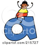 Royalty Free RF Clipart Illustration Of A Childs Sketch Of A Boy Sitting On A Lowercase Letter A