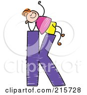 Royalty Free RF Clipart Illustration Of A Childs Sketch Of A Boy On Top Of A Capital Letter K by Prawny