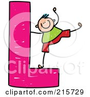 Royalty Free RF Clipart Illustration Of A Childs Sketch Of A Boy On A Capital Letter L