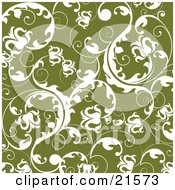 Elegant White Scrolling Vines And Flowers Over Green