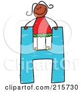 Royalty Free RF Clipart Illustration Of A Childs Sketch Of A Girl On Top Of A Capital Letter H
