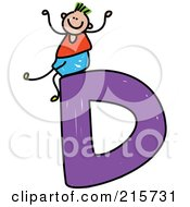 Royalty Free RF Clipart Illustration Of A Childs Sketch Of A Boy On Top Of A Capital Letter D