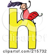 Royalty Free RF Clipart Illustration Of A Childs Sketch Of A Girl On Top Of A Lowercase Letter H