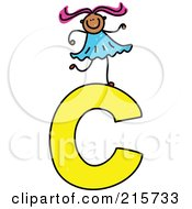 Royalty Free RF Clipart Illustration Of A Childs Sketch Of A Girl On Top Of A Capital Letter C