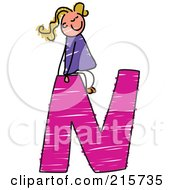 Royalty Free RF Clipart Illustration Of A Childs Sketch Of A Girl On Top Of A Capital Letter N