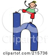Royalty Free RF Clipart Illustration Of A Childs Sketch Of A Boy On Top Of A Lowercase Letter H
