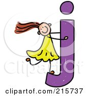 Royalty Free RF Clipart Illustration Of A Childs Sketch Of A Girl On A Lowercase Letter J