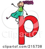 Royalty Free RF Clipart Illustration Of A Childs Sketch Of A Girl On Top Of A Lowercase Letter P by Prawny