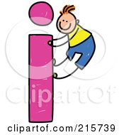 Royalty Free RF Clipart Illustration Of A Childs Sketch Of A Boy Climbing A Lowercase Letter I