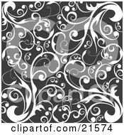 Clipart Illustration Of A Scroll Background Of Curling White Vines Over Black by OnFocusMedia