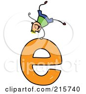 Royalty Free RF Clipart Illustration Of A Childs Sketch Of A Boy On Top Of A Lowercase Letter E