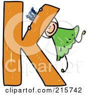 Royalty Free RF Clipart Illustration Of A Childs Sketch Of A Girl Swinging On A Capital Letter K by Prawny