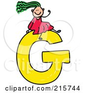 Royalty Free RF Clipart Illustration Of A Childs Sketch Of A Girl On Top Of A Capital Letter G
