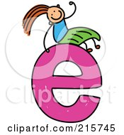Royalty Free RF Clipart Illustration Of A Childs Sketch Of A Girl On Top Of A Lowercase Letter E