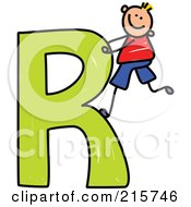 Royalty Free RF Clipart Illustration Of A Childs Sketch Of A Boy Climbing A Capital Letter A