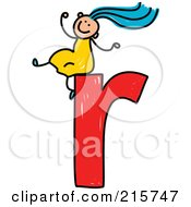 Royalty Free RF Clipart Illustration Of A Childs Sketch Of A Girl On Top Of A Lowercase Letter R