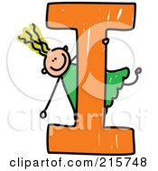 Royalty Free RF Clipart Illustration Of A Childs Sketch Of A Girl On Top Of A Capital Letter I