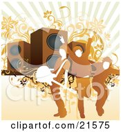 Clipart Illustration Of Three Rock Band Guys With A Guitar Posing On Stage In Front Of Giant Speakers On A Pale Orange Background With Floral Vines by OnFocusMedia