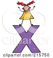 Royalty Free RF Clipart Illustration Of A Childs Sketch Of A Girl On Top Of A Lowercase Letter X