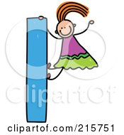 Royalty Free RF Clipart Illustration Of A Childs Sketch Of A Girl On A Lowercase Letter L