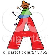 Royalty Free RF Clipart Illustration Of A Childs Sketch Of A Boy On Top Of A Capital Letter A