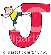 Royalty Free RF Clipart Illustration Of A Childs Sketch Of A Boy On A Capital Letter J