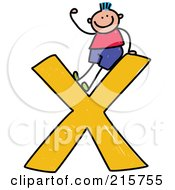 Royalty Free RF Clipart Illustration Of A Childs Sketch Of A Boy On Top Of A Lowercase Letter X