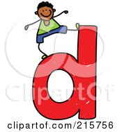 Royalty Free RF Clipart Illustration Of A Childs Sketch Of A Boy On Top Of A Lowercase Letter D
