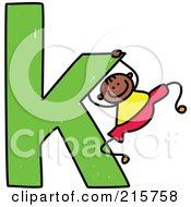 Royalty Free RF Clipart Illustration Of A Childs Sketch Of A Boy Swinging On A Lowercase Letter K by Prawny