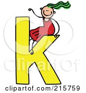 Royalty Free RF Clipart Illustration Of A Childs Sketch Of A Girl On Top Of A Lowercase Letter K by Prawny