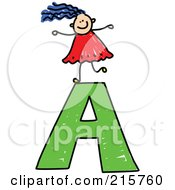 Royalty Free RF Clipart Illustration Of A Childs Sketch Of A Girl On Top Of A Capital Letter A by Prawny