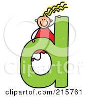 Royalty Free RF Clipart Illustration Of A Childs Sketch Of A Girl On Top Of A Lowercase Letter D