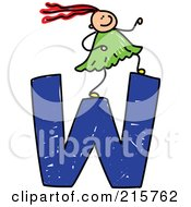 Royalty Free RF Clipart Illustration Of A Childs Sketch Of A Girl On Top Of A Capital Letter W