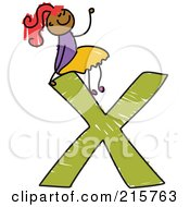 Royalty Free RF Clipart Illustration Of A Childs Sketch Of A Girl On Top Of A Capital Letter X