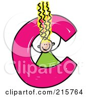 Royalty Free RF Clipart Illustration Of A Childs Sketch Of A Girl In A Lowercase Letter C