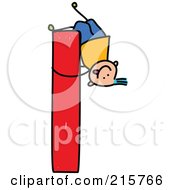 Royalty Free RF Clipart Illustration Of A Childs Sketch Of A Boy On A Lowercase Letter L
