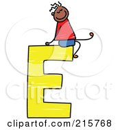 Royalty Free RF Clipart Illustration Of A Childs Sketch Of A Boy On Top Of A Capital Letter E