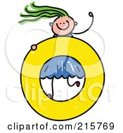 Royalty Free RF Clipart Illustration Of A Childs Sketch Of A Girl On A Lowercase Letter O