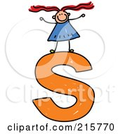 Royalty Free RF Clipart Illustration Of A Childs Sketch Of A Girl On Top Of A Lowercase Letter S