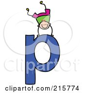 Royalty Free RF Clipart Illustration Of A Childs Sketch Of A Boy On Top Of A Lowercase Letter P by Prawny