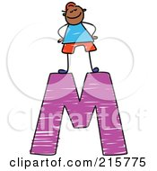 Royalty Free RF Clipart Illustration Of A Childs Sketch Of A Boy On Top Of A Capital Letter M